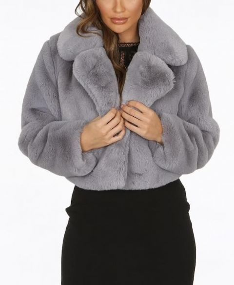 Selena Fur Jacket Grey